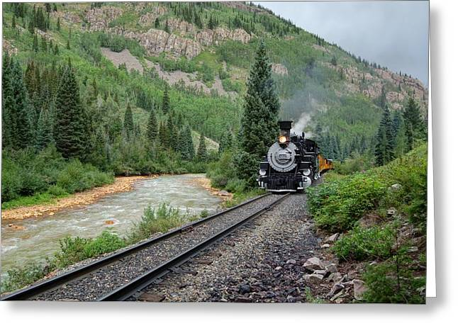 Narrow Gauge Steam Train Greeting Cards - Along the Animas Greeting Card by Ken Smith