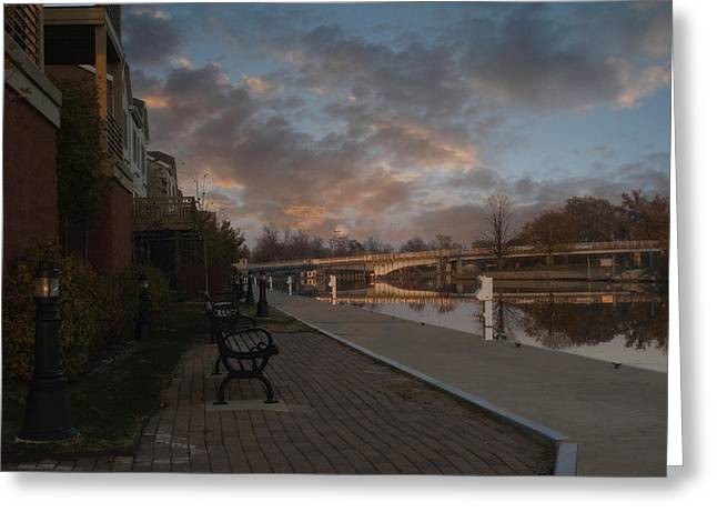 Menasha Greeting Cards - Along the Menasha Riverfront Greeting Card by Joel Witmeyer