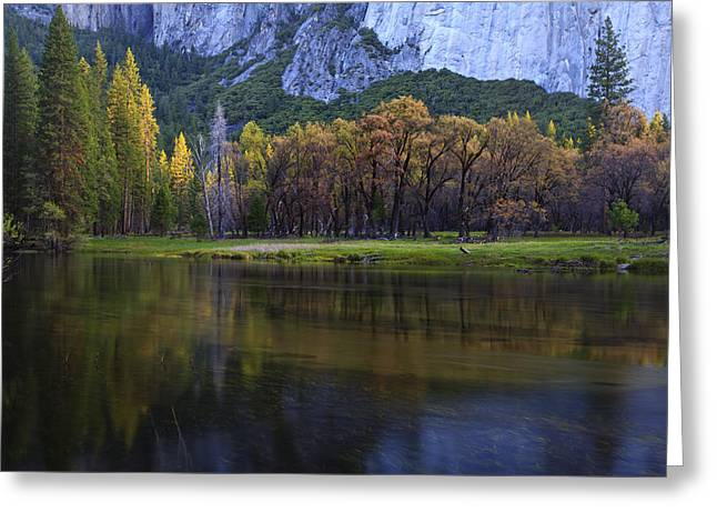 Merced River Greeting Cards - Along The Merced Greeting Card by Rick Berk