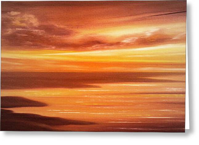 Sunset Posters Greeting Cards - Along the Way - Panoramic Sunset Greeting Card by Gina De Gorna