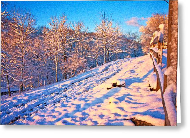 Snow-covered Landscape Digital Art Greeting Cards - Along the Way Home Greeting Card by Betsy C  Knapp