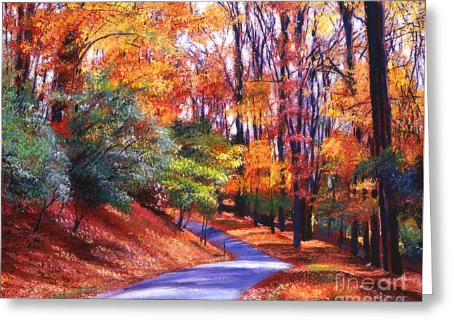 Scenic New England Greeting Cards - Along the Winding Road Greeting Card by David Lloyd Glover