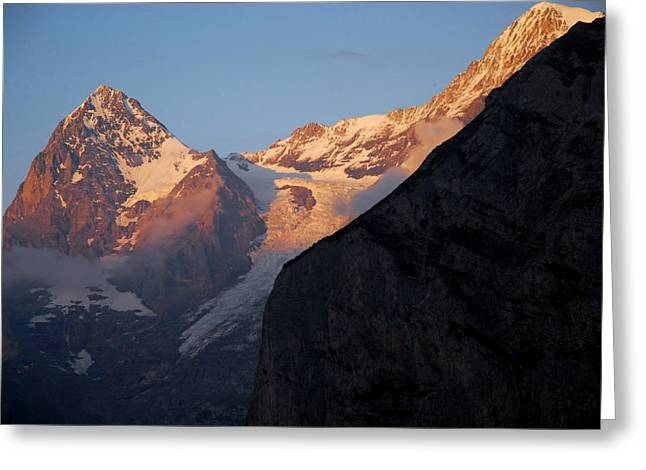 Murren Greeting Cards - Alpenglow On Eiger Mountain Greeting Card by Anne Keiser