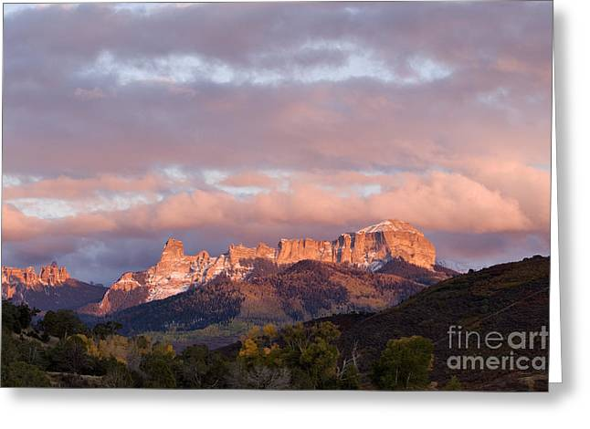 Escarpment Greeting Cards - Alpenglow on the Cimarron Mountains - D003083a Greeting Card by Daniel Dempster