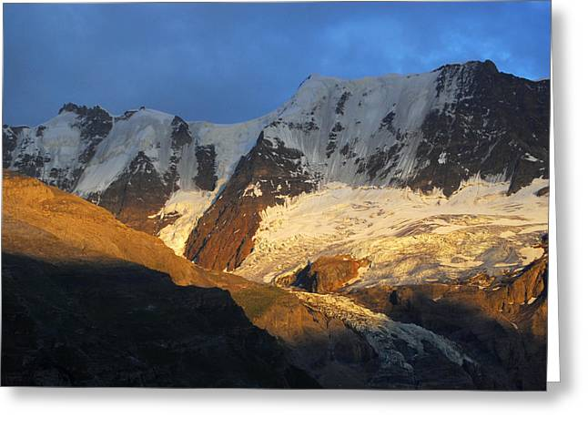 Murren Greeting Cards - Alpenglow On The Swiss Alps Near Murren Greeting Card by Anne Keiser