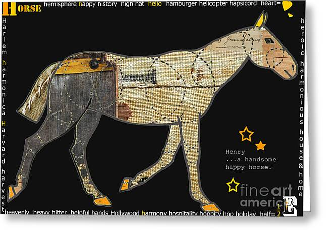 Alphabet Horse Juvenile Licensing Art Greeting Card by Anahi DeCanio