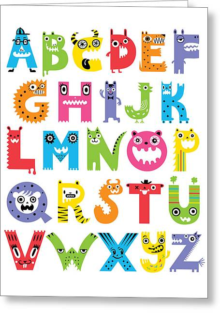 Hand Drawn Greeting Cards - Alphabet Monsters Greeting Card by Andi Bird