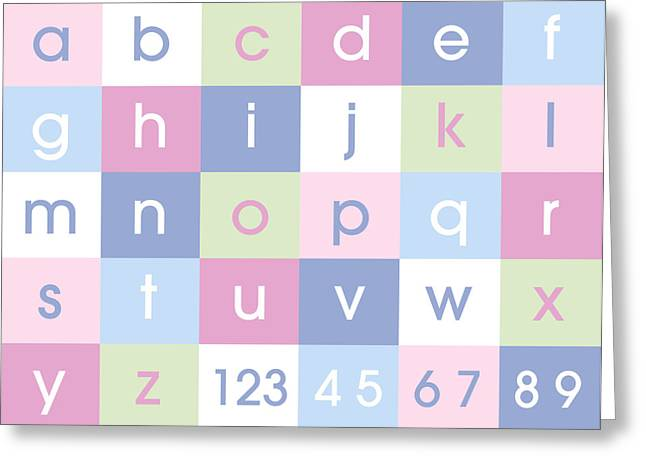 Kids Greeting Cards - Alphabet Pastel Greeting Card by Michael Tompsett