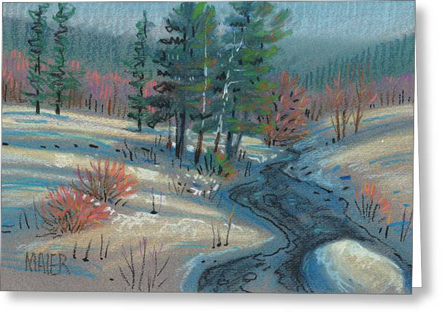 Snow Pastels Greeting Cards - Alpine Stream Greeting Card by Donald Maier