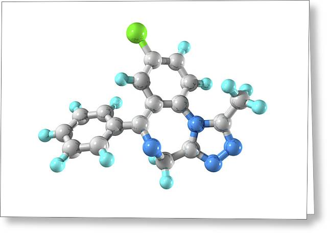 Sedative Greeting Cards - Alprazolam Drug Molecule Greeting Card by Laguna Design