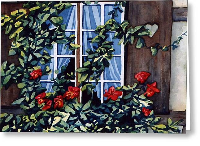 Scott Nelson Paintings Greeting Cards - Alsace Window Greeting Card by Scott Nelson