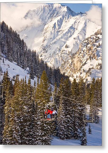 Chairlift Greeting Cards - Alta Ski Resort Wasatch Mts Utah Greeting Card by Utah Images