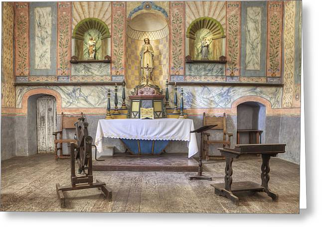 Statue Portrait Greeting Cards - Altar At Mission La Purisima State Greeting Card by Douglas Orton