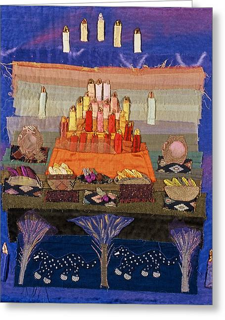 Spiritual Tapestries - Textiles Greeting Cards - Altar with Trees Greeting Card by Roberta Baker