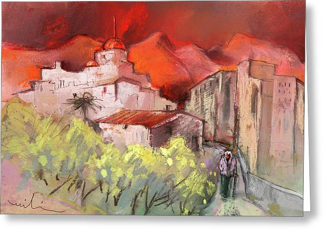 Costa Blanca Greeting Cards - Altea La Vieja in Spain 12 Greeting Card by Miki De Goodaboom