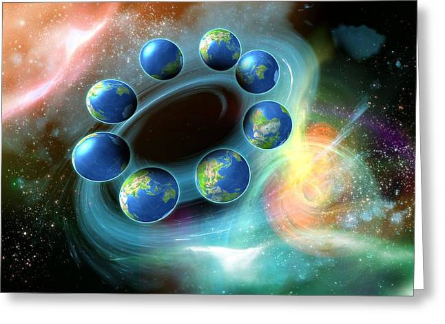 Comparison Greeting Cards - Alternative Earths, Artwork Greeting Card by Victor Habbick Visions