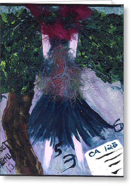 Althea Paintings Greeting Cards - Althea Awaits her CA 125 report Greeting Card by Annette McElhiney