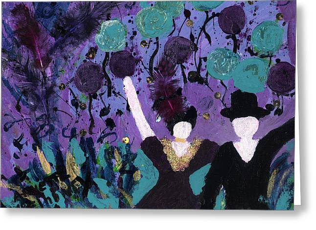 Living With Joy Greeting Cards - Althea Dances with NED Greeting Card by Annette McElhiney