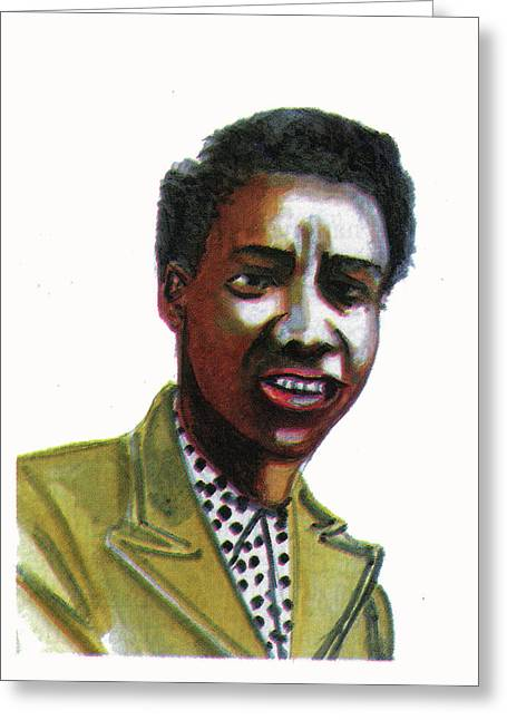 Slam Drawings Greeting Cards - Althea Gibson Greeting Card by Emmanuel Baliyanga