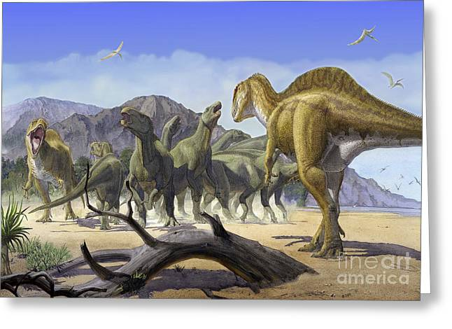 Altispinax Dunkeri Dinosaurs Attack Greeting Card by Sergey Krasovskiy