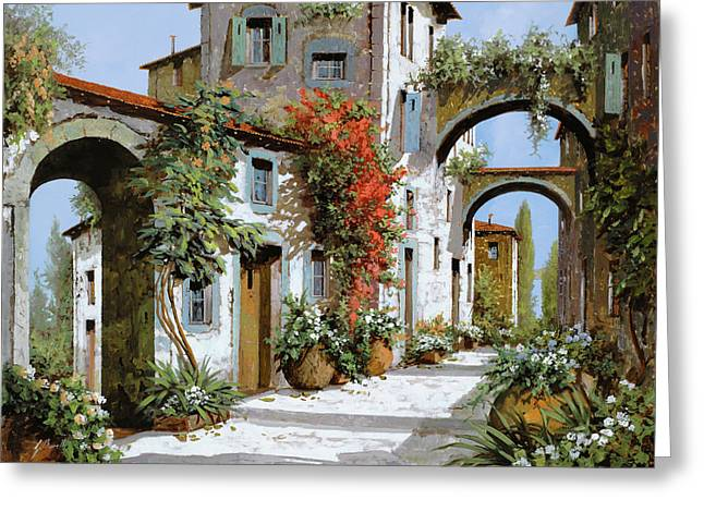 Street Scenes Paintings Greeting Cards - Altri Archi Greeting Card by Guido Borelli