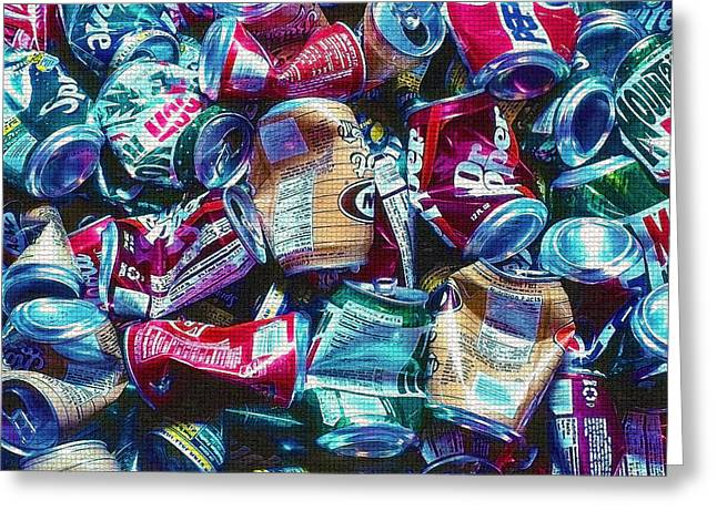 Conscious Digital Art Greeting Cards - Aluminum Cans - Recyclables Greeting Card by Steve Ohlsen