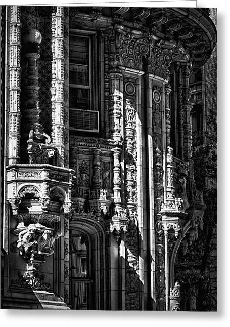 Black Russian Greeting Cards - Alwyn Court Building Detail 36 Greeting Card by Val Black Russian Tourchin