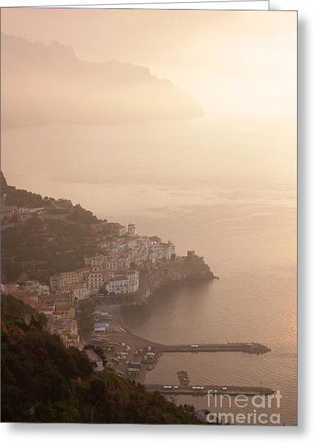 Chris Hill Greeting Cards - Amalfi at Sunrise Greeting Card by Chris Hill