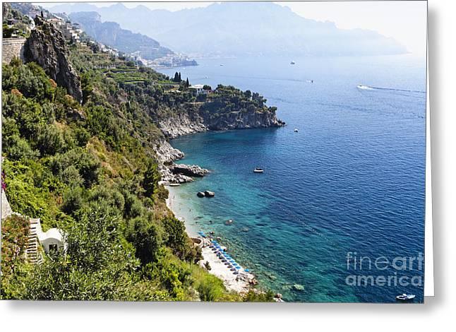 Amalfi Coast at Conca dei Marini Greeting Card by George Oze