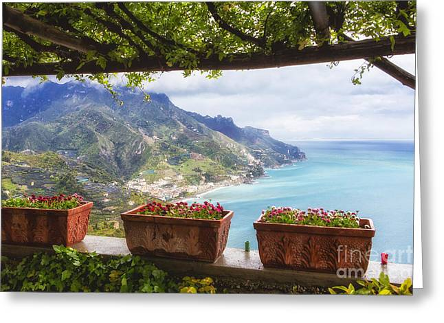 Union Terrace Greeting Cards - Amalfi Coast Vista from Under a Trellis Greeting Card by George Oze