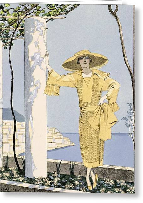 Twenties Greeting Cards - Amalfi Greeting Card by Georges Barbier