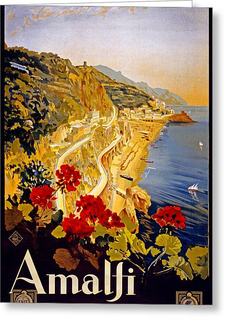 Seaside Digital Greeting Cards - Amalfi Italy Greeting Card by Nomad Art And  Design