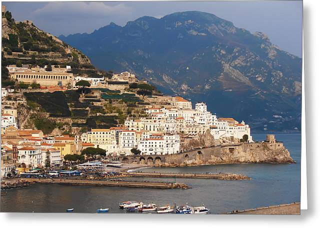 Villa By The Sea Greeting Cards - Amalfi Greeting Card by Pat Cannon
