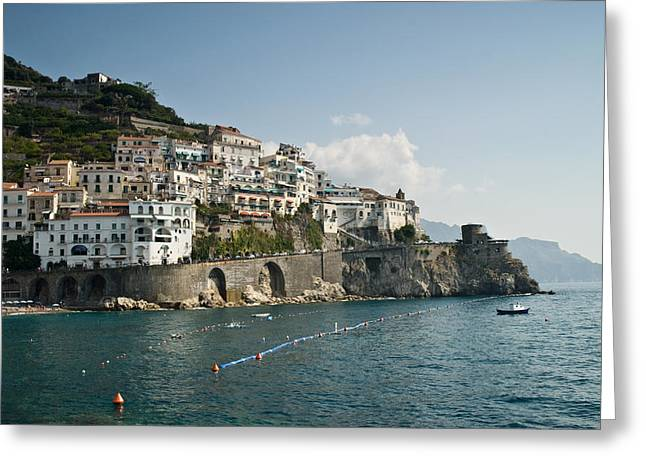 Watch Tower Greeting Cards - Amalfi Point Greeting Card by Jim Chamberlain