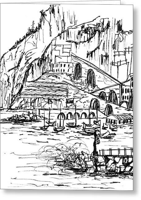 Stormy Weather Drawings Greeting Cards - Amalfi Storm Greeting Card by Elizabeth Thorstenson