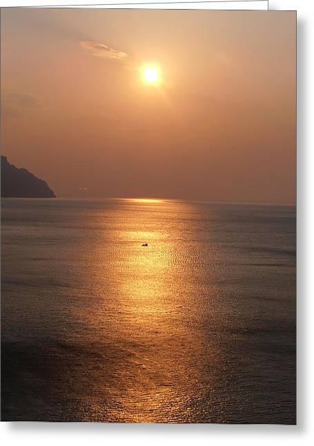 Amalfi Sunset Greeting Cards - Amalfi Sunset Greeting Card by Bill Cannon