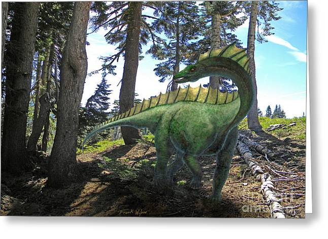 Dinosaurs Greeting Cards - Amargosaurus In Forest Greeting Card by Frank Wilson