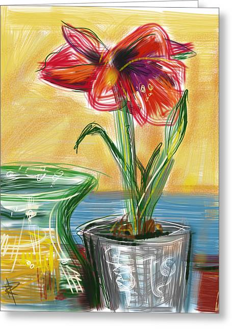 Transparent Mixed Media Greeting Cards - Amaryllis Greeting Card by Russell Pierce