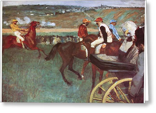 Amateur Jockeys On The Course Greeting Card by Edgar Degas