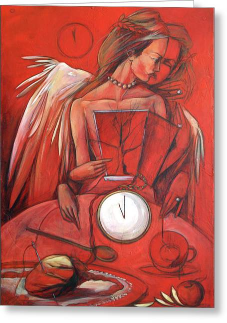 Clock Paintings Greeting Cards - Amateur Tasseographer Greeting Card by Jacque Hudson