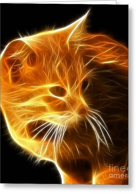 Cute Mixed Media Greeting Cards - Amazing Cat Portrait Greeting Card by Pamela Johnson