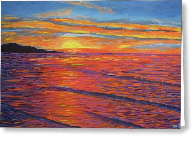 Sunset Seascape Paintings Greeting Cards - Amazing Grace Greeting Card by Anne West