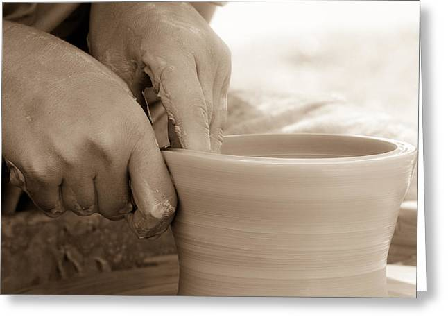 Master Potter Greeting Cards - Amazing hands Greeting Card by Emanuel Tanjala