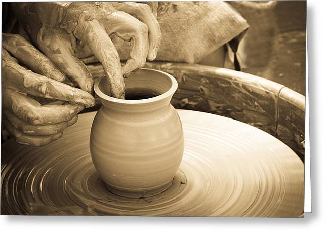Recently Sold -  - Master Potter Greeting Cards - Amazing hands V Greeting Card by Emanuel Tanjala