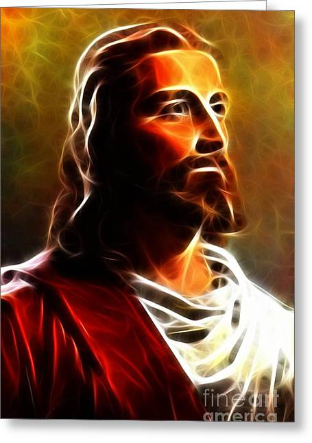 Calvary Mixed Media Greeting Cards - Amazing Jesus Portrait Greeting Card by Pamela Johnson
