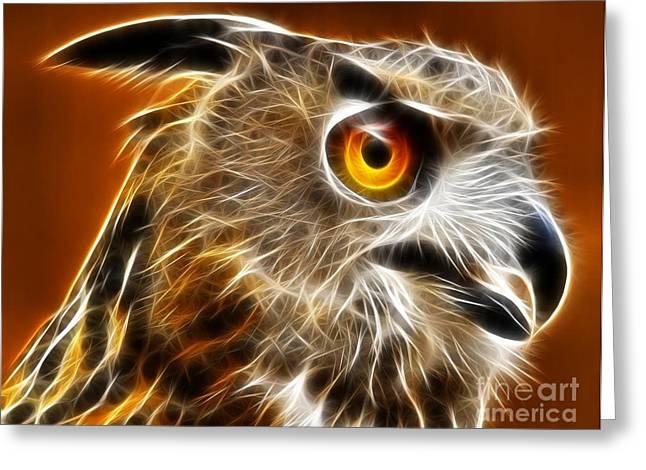 Unique Owl Greeting Cards - Amazing Owl Portrait Greeting Card by Pamela Johnson