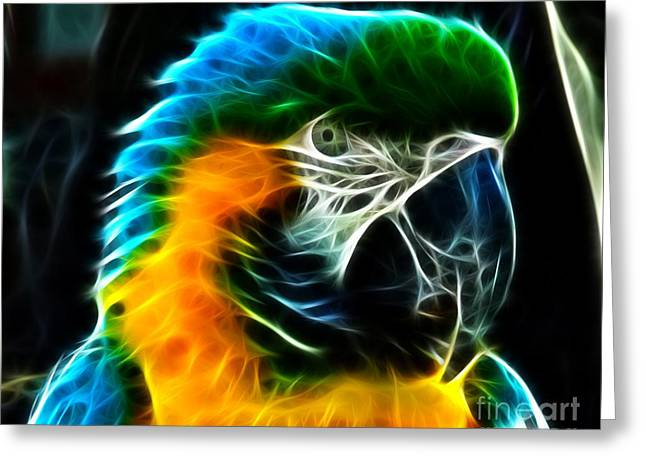 Amazon Parrot Greeting Cards - Amazing Parrot Portrait Greeting Card by Pamela Johnson