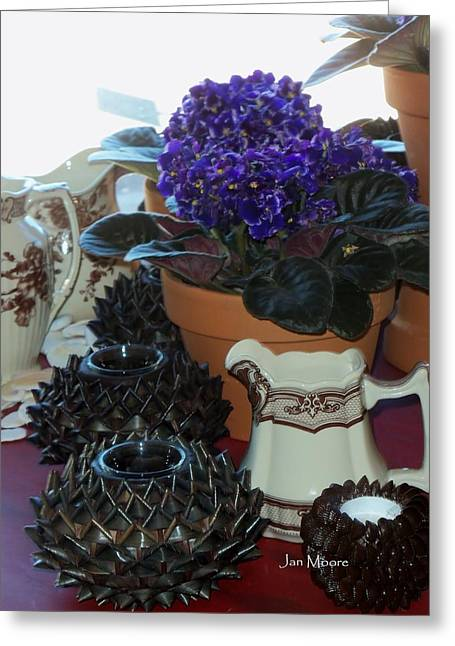 Still Life With Pitcher Greeting Cards - Amazing Still Life Scenes at Rons in Grover Beach CA Greeting Card by Jan Moore