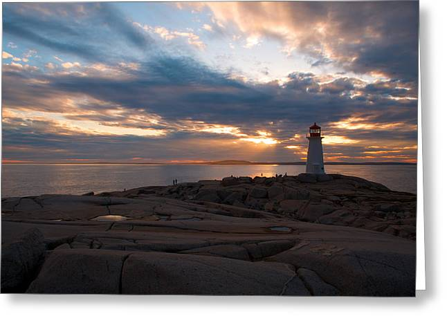 Best Sellers -  - Sun Breaking Through Clouds Greeting Cards - Amazing Sunset at Peggys Cove Greeting Card by Andre Distel