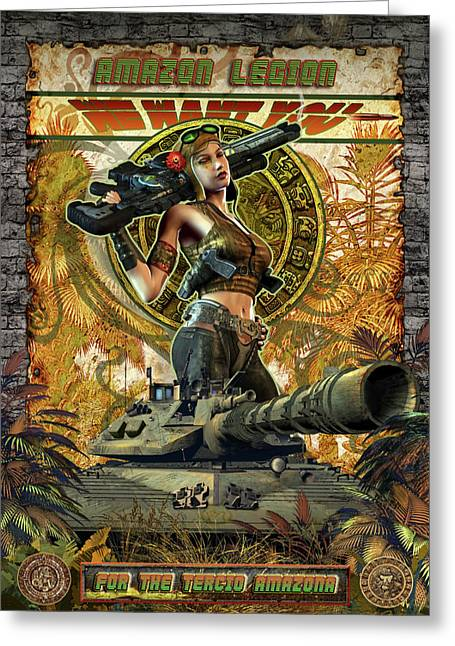 Weapon Mixed Media Greeting Cards - Amazon Legion Greeting Card by Kurt Miller